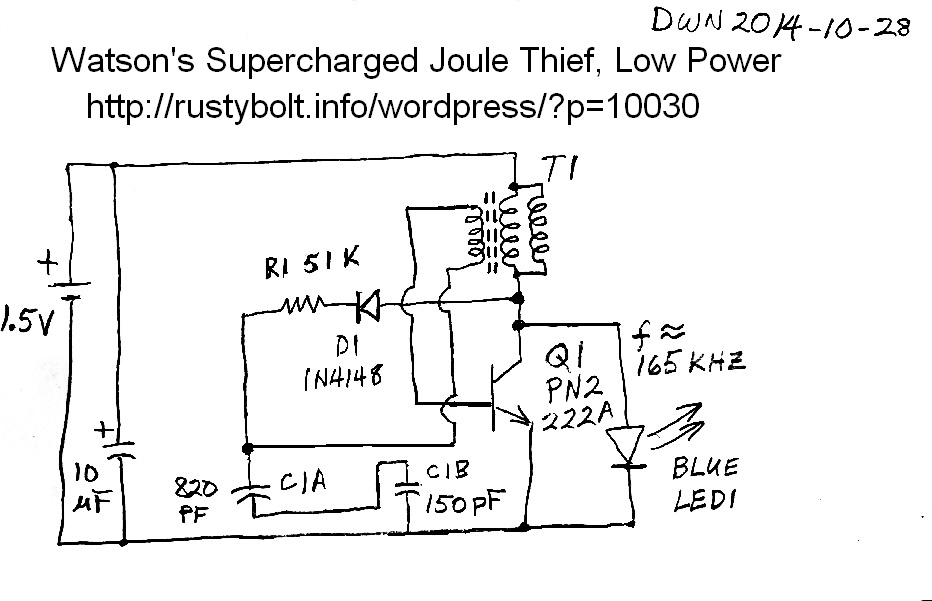 2014-10-30 Low Power Supercharged Joule Thief – RustyBolt ... on joule thief battery, joule thief design, joule thief kit, joule thief boost converter circuit, voltage doubler, joule thief project, joule thief how it works, flyback diode, joule thief motor, led circuit, joule thief box, joule thief charger, electromagnetic shielding, joule thief pcb, joule thief waveform, joule thief power, joule ringer schematic, joule thief resistor,