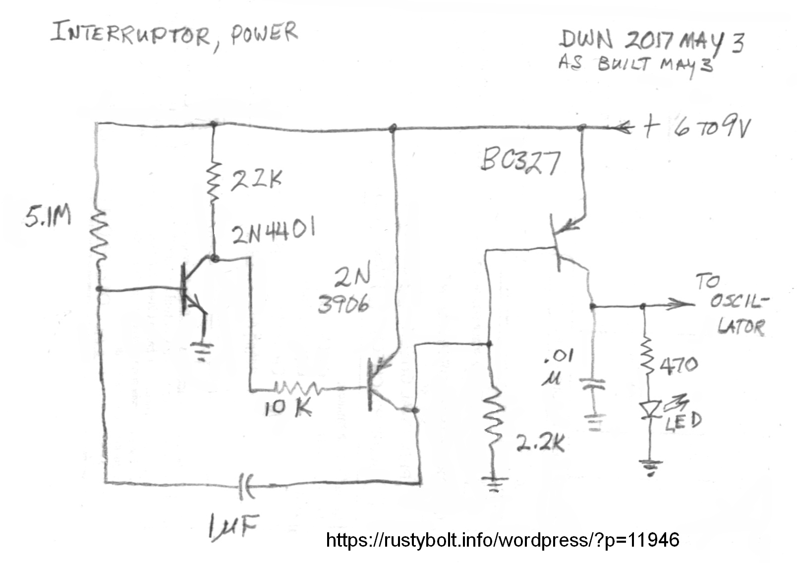 Wordpress Page 23 Electronics Stuff A Lot Wiring Diagram As Well Npn And Pnp Transistor On Prox I Built The Circuit Put Led Output Found That It Was Always Off Unless Touched Base Of First